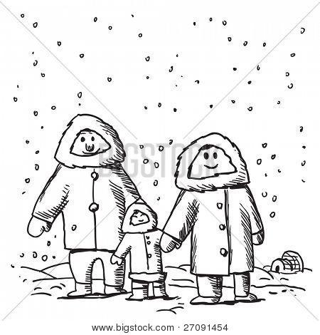 Skizze Stil Abbildung einer lustigen Eskimo Familie