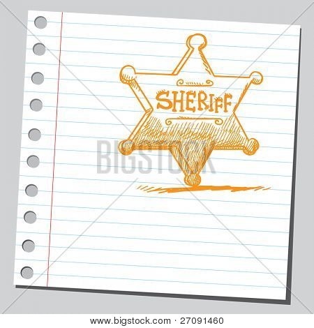 Sketch style illustration of a sheriff's badge