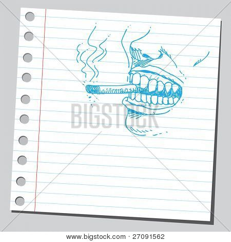 Sketch style illustration of a smoker's mouth