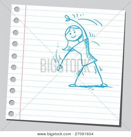 Sketch style illustration of a woman exercising