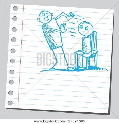 Sketch style illustration of a hypnotist