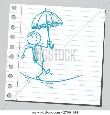 Sketchy illustration of a woman acrobat on a tightrope holding an umbrella