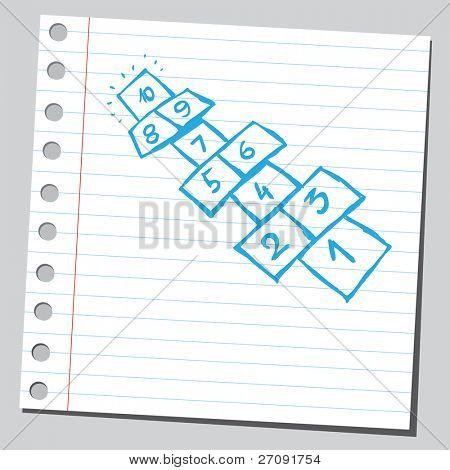 Sketchy illustration of a hopscotch fields