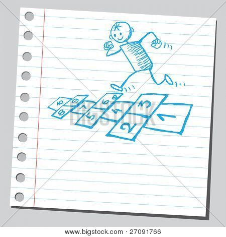 Sketchy illustration of a kid playing hopscotch