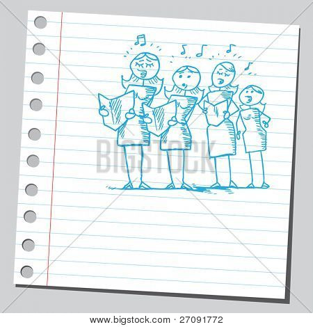 Sketchy illustration of a female choir