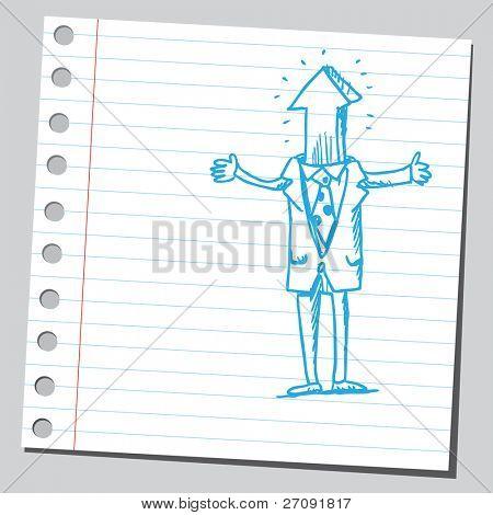 Ilustración incompleta de un hombre extraño con punta de flecha