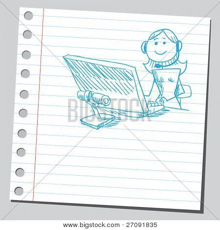 Sketchy illustration of an operator girl