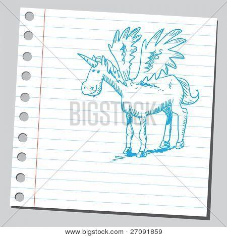 Sketchy illustration of an unicorn