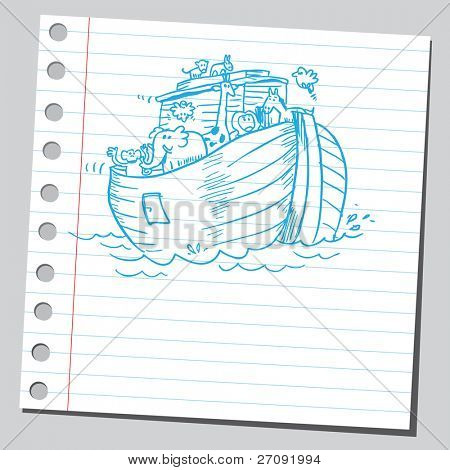 Sketchy illustration of a Noah's ark