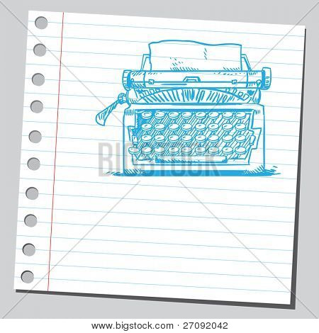 Sketchy illustration of a typewriter machine