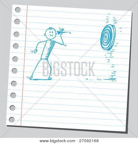 Ilustración incompleta de un hombre lanzar el dardo