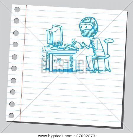 Ilustración incompleto de un hacker