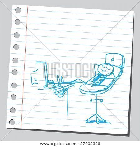 Sketchy illustration of a businessman's rest