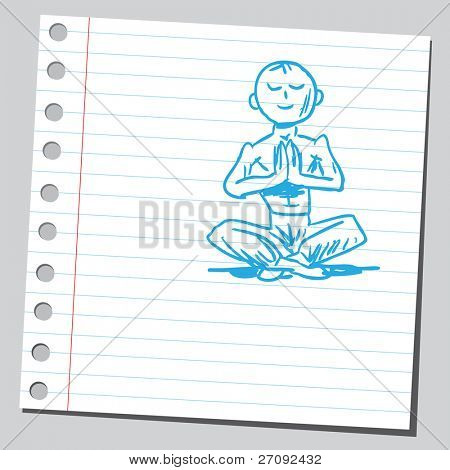 Sketchy illustration of a man in yoga pose