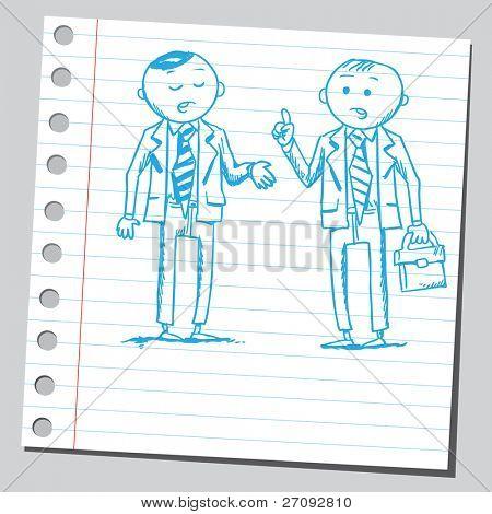 skizzenhafte Darstellung der Kaufmann zwei reden