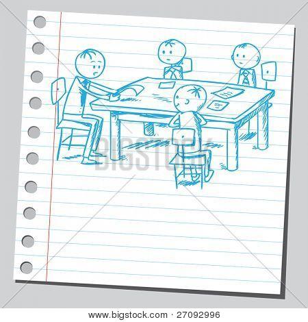 Ilustración incompleto de un grupo de empresarios