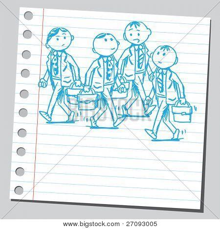 Sketchy illustration of a group of businessmen walking