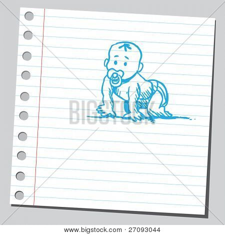 Drawing of a baby crawling