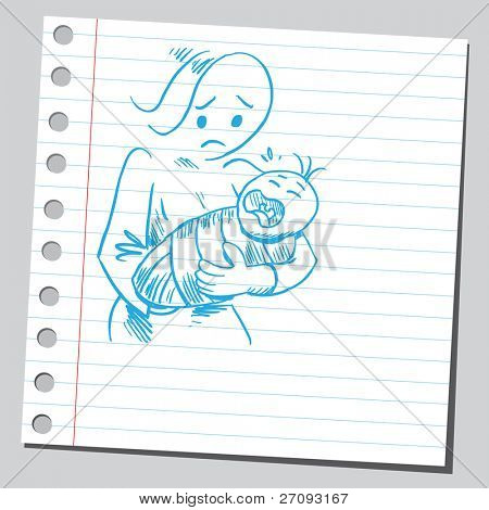 Drawing of a baby crying in mother's arms