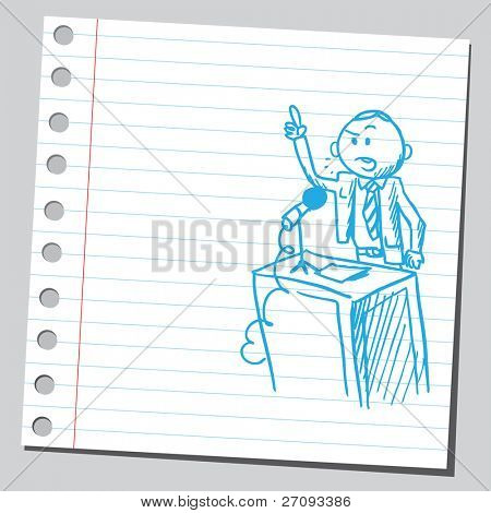 Sketch of a politician speaking