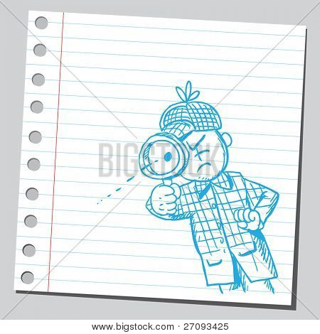 Sketch of a detective looking through magnifying glass