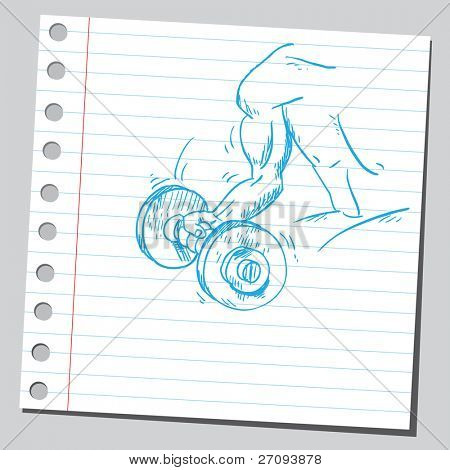 Sketchy illustration of a man lifting a dumbell