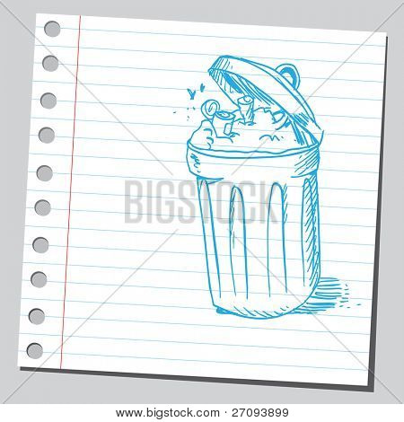 Sketchy illustration of a full trash can