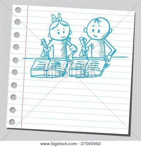 skizzenhafte Darstellung der ein Schüler Hausaufgaben