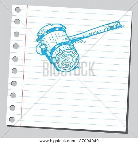 Ilustración incompleto de un mazo de madera