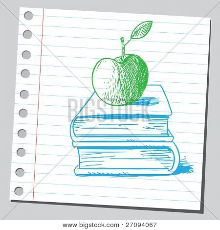 Sketchy illustration of a green apple on books