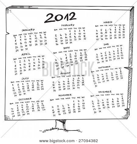 Sketch of a 2012 year calendar