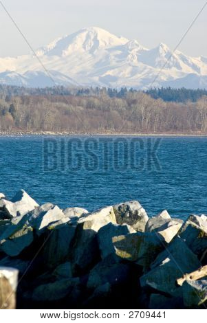 Mount Baker With White Rock Beach And Mud Bay