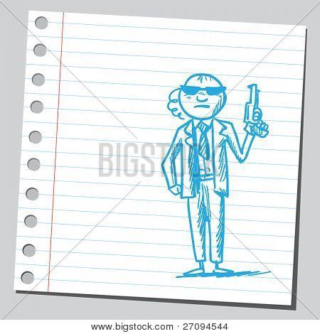 Bodyguard holding gun
