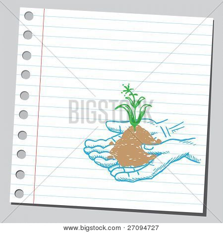Drawing of a plant in hands