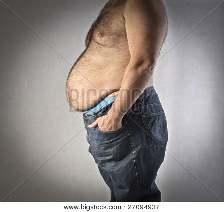 Closeup of the fat body of a man