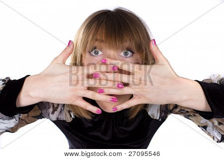 photo portrait lady covering her face with her hands over white background