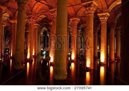 ancient underground water reservoir in Istanbul