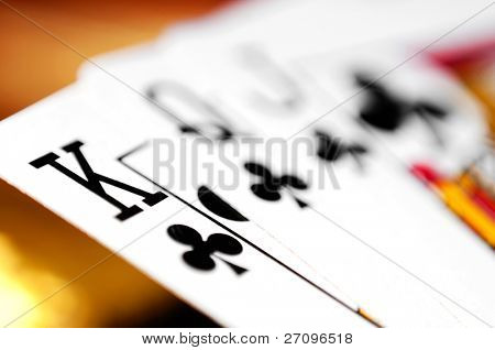 playing cards on a colorful soft background