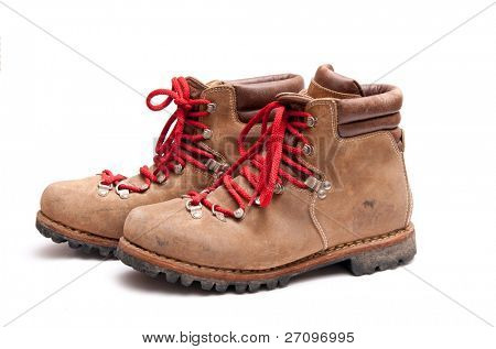 brown mountain boots isolated on a white background