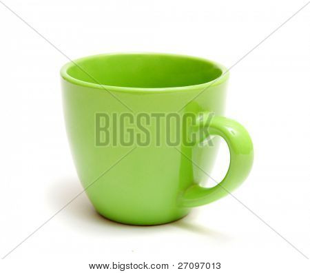 green mug isolated on a white background