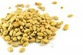 Sunflower Seeds Isolated / Pile Of Sunflower Seeds Baked Dry Isolated On White Background - Peeled S poster