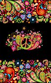 Fashionable print with colorful floral seamless border and hippie peace flowers symbol for shirt des poster