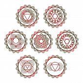 Yoga Vector Design. 7 Chakra Mandalas. Sahasrara, Anahata, Muladhara, Svadhisthana, Manipur, Vishudh poster