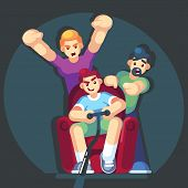 Cartoon Young People Play Video Games Sitting On The Couch Sofa. Gamepad In Hands. Friends Playing V poster