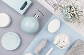 Elegant Cosmetics Set Of Accessories For Beauty Care Top View - Soap, Towel, Ceramic Pastel Blue Bow poster
