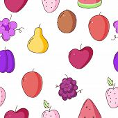 Fruits Seamless Pattern. Vector Seamless Pattern With Fruits. Fruits Background. Seamless Background poster