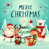 Merry Christmas! Happy Christmas Companions. Santa Claus, Reindeer, Elf, Polar Bear, Fox, Penguin An poster