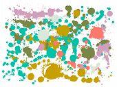 Ink Stains Grunge Background Vector. Futuristic Ink Splatter, Spray Blots, Mud Spot Elements, Wall G poster