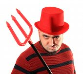 image of deuce  - Devilish man with red top hat and trident - JPG