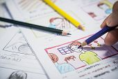 Creator Drawing Story Board Movie Video Layout For Pre-production, Development Cartoon Illustration poster